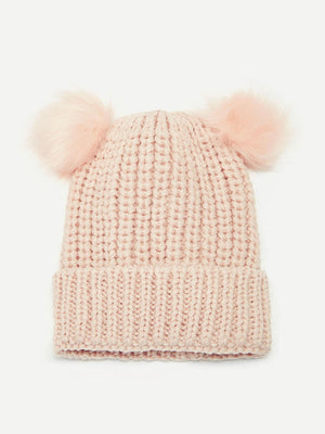 Girls Hats - Pom-pom Decor Cuffed Beanie