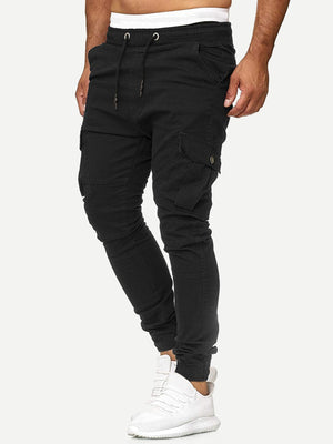 Men's Athletic Apparel - Pocket & Drawstring Detail Solid Pants