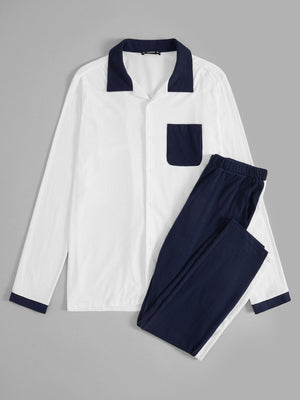 Pajama Sets - Men Two Tone Pocket Patched Shirt and Pants PJ Set