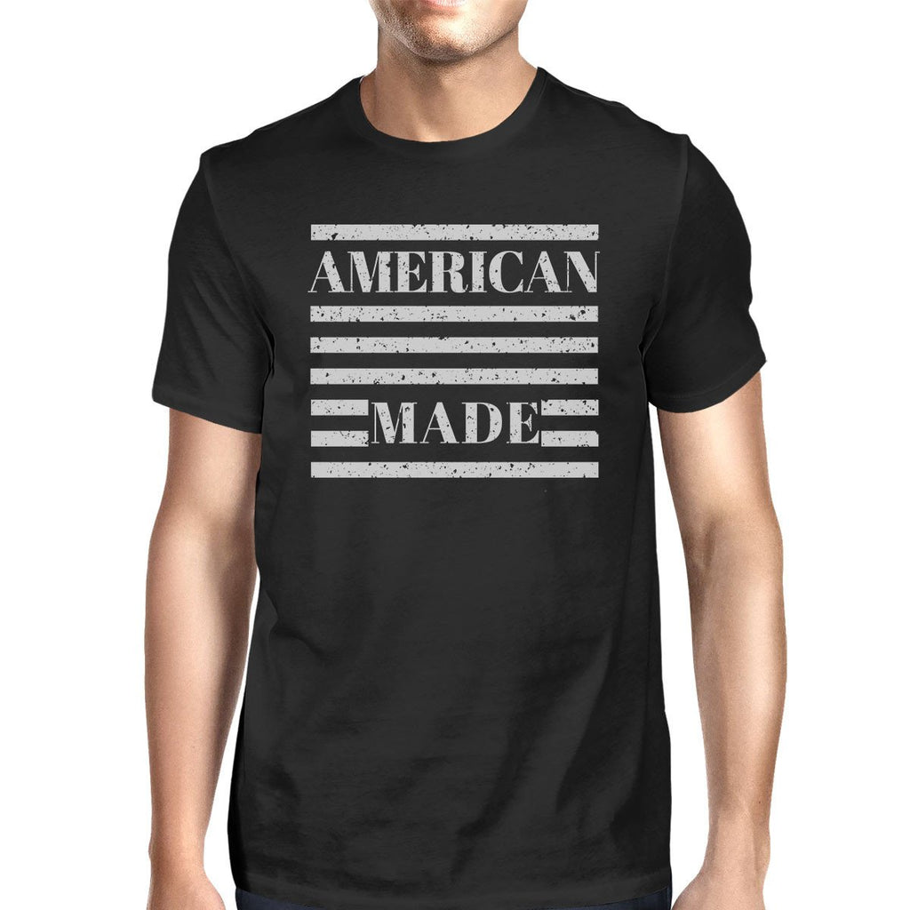 American Made Mens Black Cotton Tee Fourth Of July Graphic T-Shirt