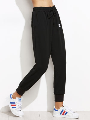 Pants For Women - Drawstring Patch Peg Jogger Pants