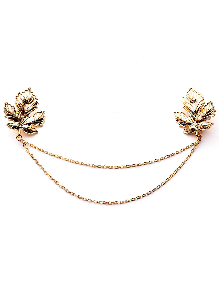 Womens Brooches - Gold Plated Chain Leaf Brooch