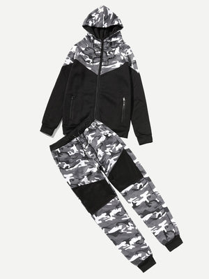 Men's Tracksuit - Contrast Camo Hooded Coat With Drawstring Pants