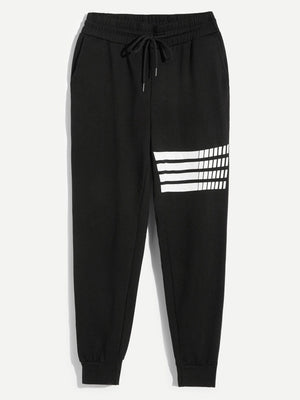 Pajamas - Men Elastic Waist Drawstring Striped Pants