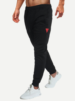 Men's Activewear - Patched Decoration Drawstring Waist Pants