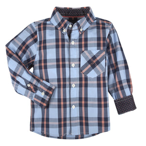 Blue, Navy & Coral Plaid LongSleeve Button-down Shirt