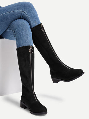 Women Boots - Zipper Front Calf Length Boots