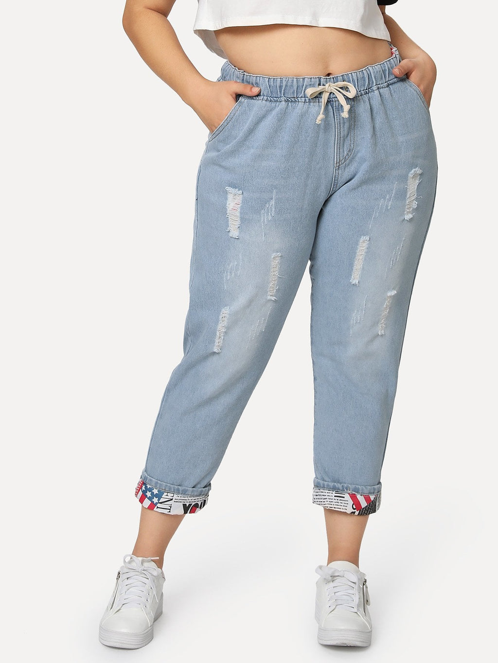 Plus Size Jeans - Tie Waist Ripped Jeans