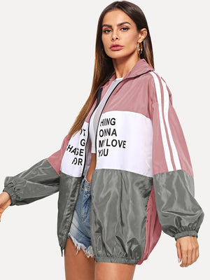 Jackets For Women - Zip Up Color Block Letter Print Jacket