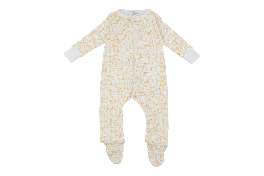 Toddler Boy Jumpsuits - footed pajamas in orange squares