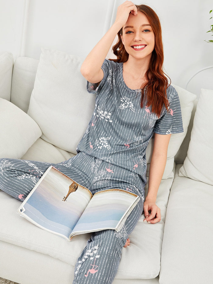 Pajama Set - Flamingo & Leaf Print Striped
