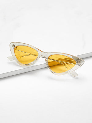Cheap Sunglasses - Cat Eye Flat Lens Sunglasses