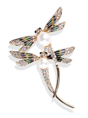 Fancy Brooches - Double Dragonfly Design Brooch