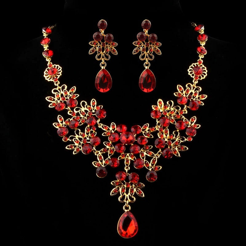 Jewelry Set - Red Crystal Rhinestone