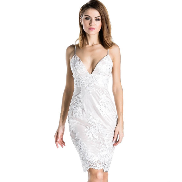 Sexy White Lace Halter Dress