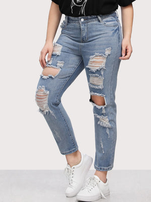 Plus Size Jeans - Bleach Wash Extreme Distressing Jeans
