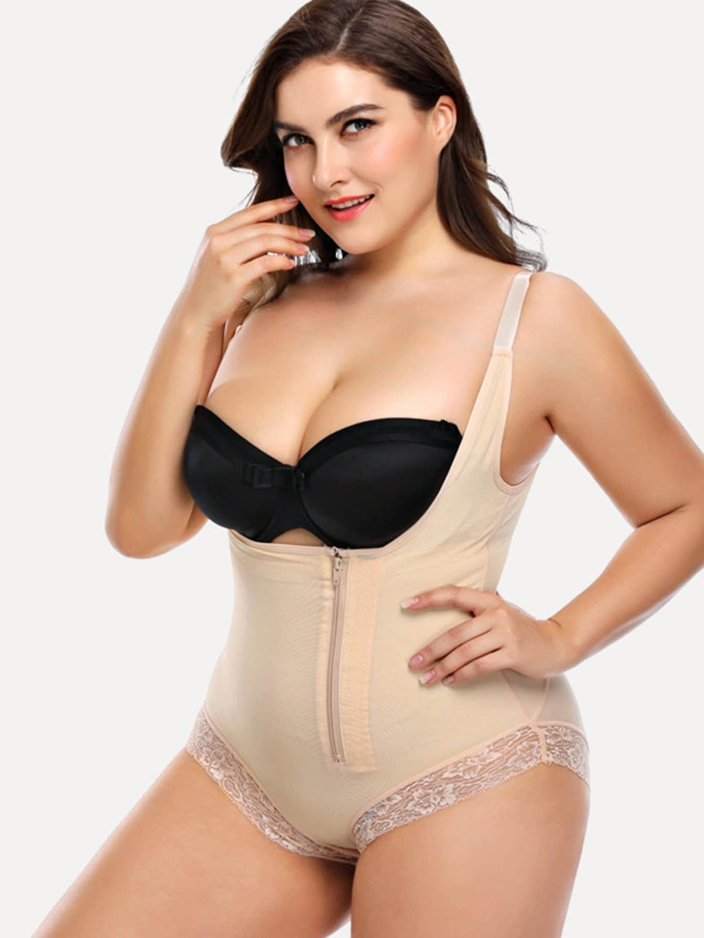 Plus Size Shapewear - Plus Lace Trim Bodysuit