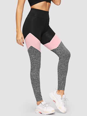 Tights For Women - Wide Waistband Marled Knit Colorblock Leggings
