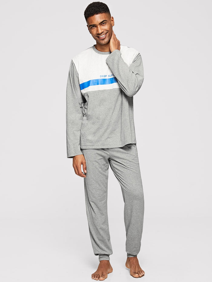 Men's Pajamas - Color Block Letter Top & Pants Pajama Sets