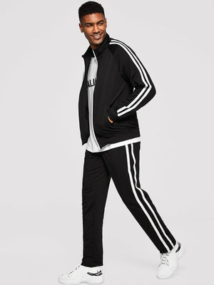 Men's Tracksuit - Zip Front Striped Coat & Pants Set