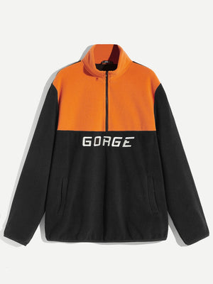 Men's Track Jackets - Two Tone Zip Half Placket Letter Embroidery Jacket