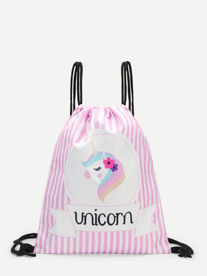 Bags For Women - Cartoon Print Striped Backpack
