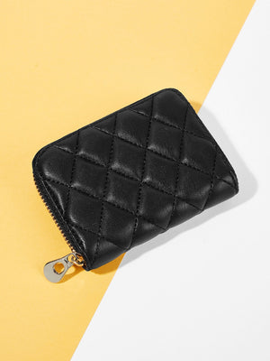 Wallets For Women - Quilted Detail Zipper Around Card Holder