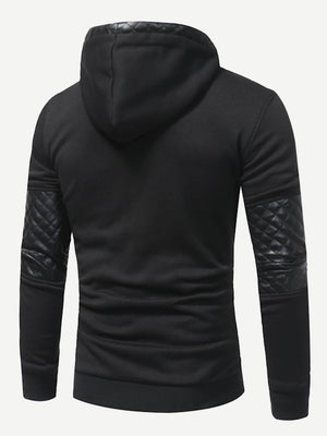 Men's Hoodies - Contrast Faux Leather Hoodie