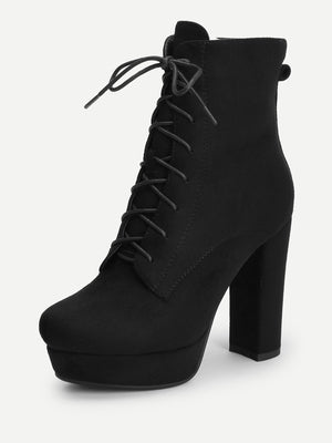 Women Boots - Lace Up Platform Block Heeled Boots