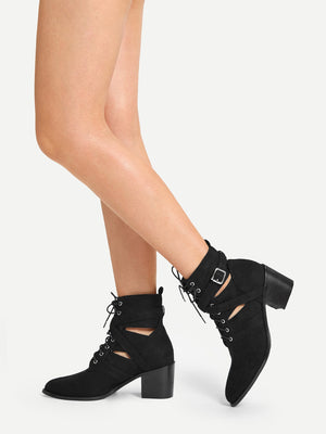 Women Boots - Solid Lace-up Suede Boots