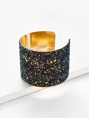 Bracelets For Women - Sequin Overlay Wide Cuff Bracelet