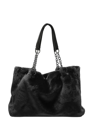 Ladies Bags - Faux Fur Chain Shoulder Bag
