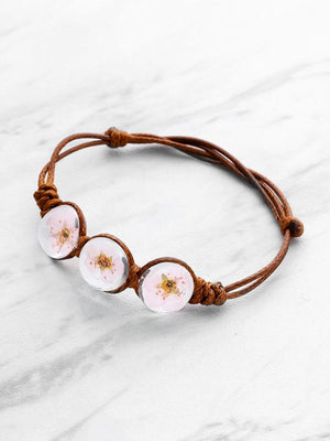 Bracelets For Women - Glass Flower Design Knot Bracelet