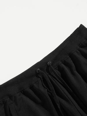 Men's Athletic Apparel - Cut And Sew Panel Drawstring Waist Pants