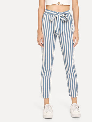 Pants For Women - Knot Front Striped Pants