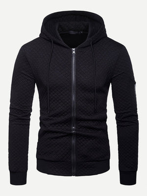Men's Hoodies - Zip Up Solid Hoodie