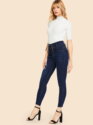 Jeans For Women - Raw Hem Knot Faded Wash Jeans
