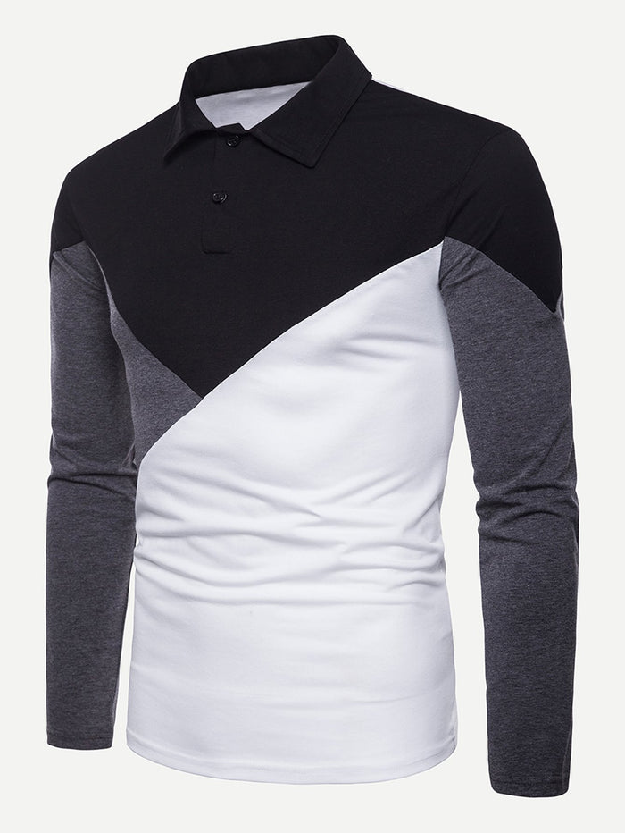 Men's Tops - Color Block Polo Shirt