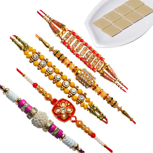 5 Rakhi - AD Pearls and Beads Rakhis And Badam Katri