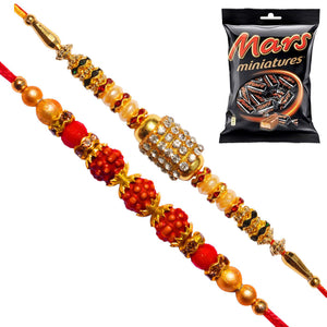 2 Rakhi - AD and Rudraksh Rakhi with Mars Miniatures Pack