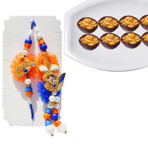 2 Rakhi - Beautiful Bhaiya Bhabhi Pearl and Diamond Rakhi Set With Anjeer Katori