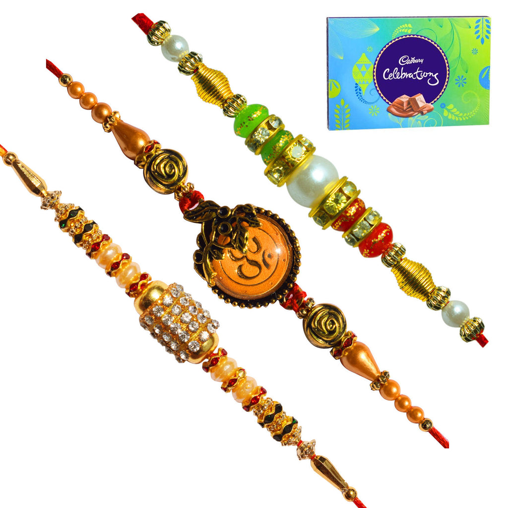 3 Rakhi - Beautiful Fancy Rakhis with Cadbury Celebration Chocolate Box