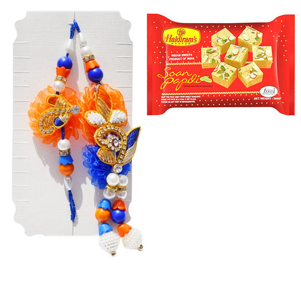 Pearl and Diamond Rakhi Set With Soan Papdi