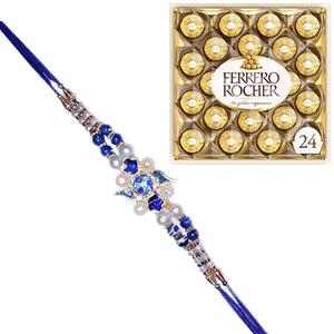 1 Rakhi - Blue Pearl Rakhi With 24 Pcs Ferrero Rocher Chocolate Box