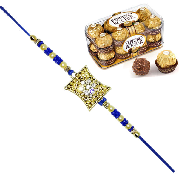 1 Rakhi - Blue and White Pearl Rakhi With 16 Pcs Ferrero Rocher Chocolate Box
