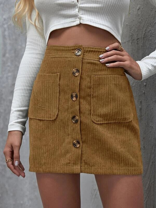 Mini Skirts - Button Front Corduroy Skirt