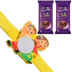 1 Rakhi - Chota Bheem And Chutki Multiple Lights Rakhi With 2 Dairy Milk Silk Chocolate Bar