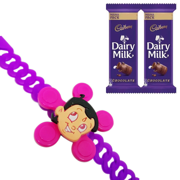 1 Rakhi - Chota Bheem Belt Spinner Rakhi With 2 Cadbury Dairy Milk Chocolate