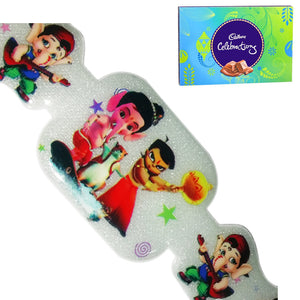 1 Rakhi - Chota Bheem and Bal Ganesh Kids Rakhi With Cadbury Celebration Chocolate Box (130g)