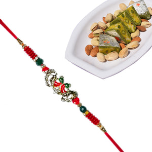 1 Rakhi - Colorstone Rakhi With Kaju Pista Pan